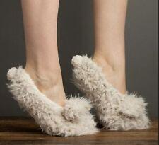 Lemon Ladies Knit Faux-Shearling Lined Shaggy Bunny Slipper Socks Gripper Beige
