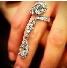 1.28 Round Cz 3.12 Pear Drop Style Spiral Round Side Stone 40MM Long Ring