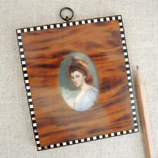 Antique Miniature Portrait Lady Signed Painting Inlaid Shell Frame 19th C French
