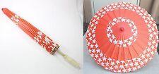 "23"" Inch tall Red-Orange Cherry Blossom Wood Paper Parasol Umbrella Decoration"