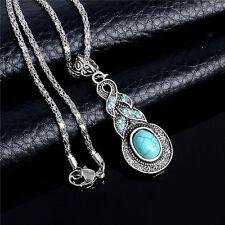 Long Vintage Pendant 1pc Graceful Adjustable Chain Round Turquoise Necklace