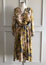 | COUNTRY ROAD | 100% linen print tie dress summer gold | NEW | SIZE: 16 |