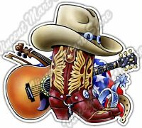 "Cowboy Boots Western Guitar Country Music Car Bumper Vinyl Sticker Decal 5""X4"""
