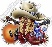 "Cowboy Boots Western Guitar Country Music Car Bumper Vinyl Sticker Decal 5""X4"""