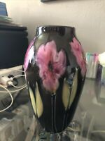 Vintage 1983 Charles Lotton Multi Flora Studio Art Glass Vase Signed And Dated