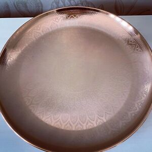 Large Copper Etched Metal Bowl Home Decoration Gift