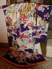 VINTAGE UCHIKAKE KIMONO JAPANESE WEDDING SILK EMBROIDERED KIMONO-RARE
