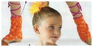 fuzzy faux mukluks Neon Orange & Cerise Medium child dance costume fake fur
