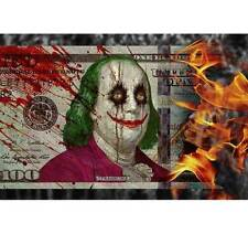 Ben Franklin Joker 100 Dollar Bill Burning 24 x 36 Poster