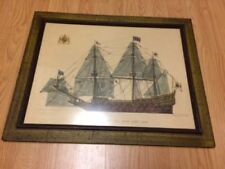 H.M.S Sovereign Of The Seas 1635-1696 Designed by H.A.Muth Framed Lithograph