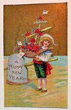 Antique HAPPY NEW YEAR POSTCARD Girl Boat Ship USA Flag Rose Flower vintage Art