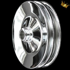 Press On Power Steering Pulley For Sbc Bbc Pontiac Olds 2 Groove Chrome