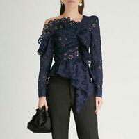 Classic Self-portrait Hollow Lace Tops Summer Asymmetrical Women Blouse Top