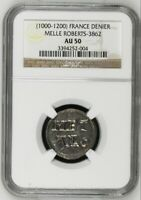 France Melle Roberts Denier 1000-1200 AU50 NGC Charles II Rare Silver Coin