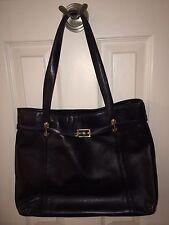 St John Classic Soft Black Leather w/Signature Gold Hardware Tote Handbag Purse