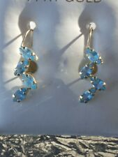 Blue Topaz Marquise Cut Hook Closure Earrings 14kt Solid Yellow Gold