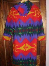 Vintage Colorful Full Length Western Blanket Wool Coat Jacket womens Sw Pcw