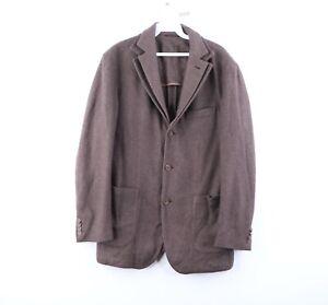 Phineas Cole 3 Button Silk Cashmere Double Vent Sport Coat Jacket Brown Large
