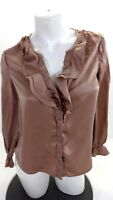 NWD JOIE WOMENS ROSE PINK RUFFLED SILK BLOUSE SIZE S