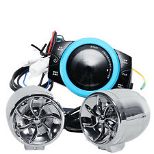 2x Motorcycle Silver LED speakers Anti-theft Audio System Stereo USB MP3 Player