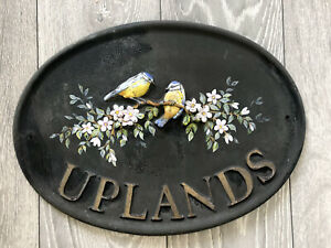 House name plaque Ovel Black Slate Bronze 'Uplands' Hand Painted Birds Floral 3D