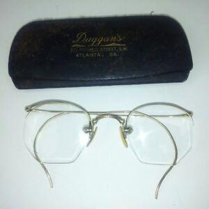 Reading Glasses 1/10 12X Gold Filled Vintage Hook Ear Duggan's Atlanta Georgia