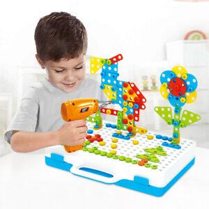237PCS Set Mosaic Building Blocks Peg Kids Electric Drill Assemble Toy Gift