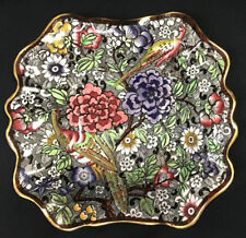 Antique British Anchor Pottery England Square Bowl Multicolor Floral Bird Chintz