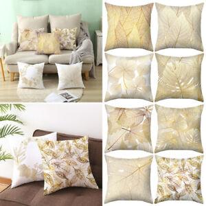 """18"""" Gold Leaves Cushion Covers Pillowcase Waist Sofa Throw Car Home Decor Xmas"""