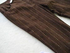 NEW $2880 DOLCE & GABBANA BROWN SUEDE LEATHER PANTS W/ TOPAZ CRYSTALS 42 (6-8)