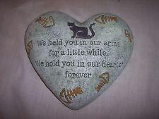 "Cat Memorial Heart Shaped Garden Love Stone, 6"" x 5-1/2"""