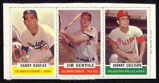 1962 Bazooka Baseball Complete 3-card Panel with Sandy Koufax. Full Borders