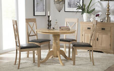 Kingston Round Oak Dining Room Table and 4 Kendal Chairs Set - Brown Seat Pad