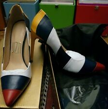 Uza High Heels * Size 5 / 38 * Leather * Stripy * Unworn * White Blue Red *