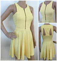 NEW EX RIVER ISLAND PALE YELLOW RIBBED ZIP FRONT SKATER DRESS 8 10 12 14