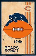 CHICAGO BEARS - RETRO LOGO POSTER - 22x34 NFL FOOTBALL VINTAGE 13168