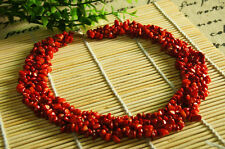 Natural 5-8mm Irregular Red Coral Gemmstone Necklace 20''
