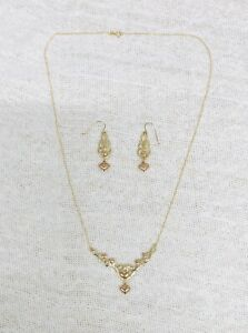 10K Yellow Rose Gold Heart Necklace & Matching Earrings 3 Grams