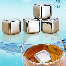 New Stainless Steel Wine Whiskey Stones Rock Ice Cubes Soapstone Drink Freezer