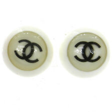 "Authentic CHANEL Vintage CC Logos Button Earrings Clip-On 0.7 "" V13111"