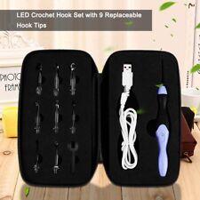 9-in-1 USB LED Light Up Crochet Hooks Knitting Needles Set Weave Tool Kit AU