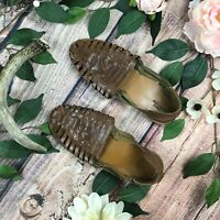 Urban Outfitters Size 8 Brown Flat Strappy Woven Huarache Sandal Leather