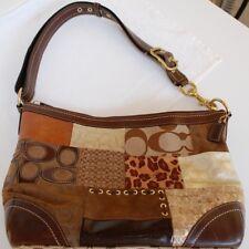 Coach Patchwork Handbag Purse Suede Velvet Patent Leather Brown Beige Cream