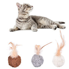 1x pet cat kitten feather round plush ball mouse   chew toy JR