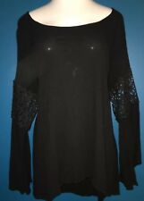Charlotte Russe Plus Boho Hippie Black Lace Inset Bell Sleeve Top 2X NWOT