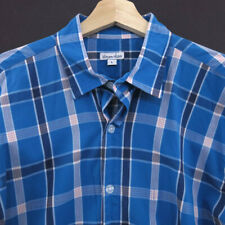 Steven Alan Mens Button Shirt Size L Plaids Long Sleeve blue