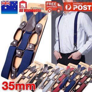 British Men's Y-Braces Leather Elastic Suspenders Trousers 6 BUTTON HOLE AU