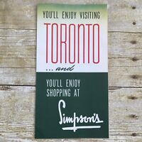 Vintage Shopping at Simpson's Toronto Canada Map Department Store Brochure