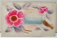 Birthday Embossed Airbrushed Pink & Purple with Brown Bird Postcard E6