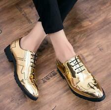 Men's Wing Tip Dress Shoes Formal Brogue Oxfords Lace Up Wedding Shoes Gold